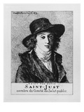Louis Antoine Leon De Saint-Just, Engraved by Frederic Desire Hillemacher (1811-86) 1869 Giclee Print by Jacques Louis David