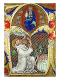 Historiated Initial 'A' Depicting St. Benedict Offering His Soul to God the Father, Lombardy School Giclee Print by  Master of the Vitae Imperatorum