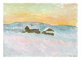 Norwegian Landscape, Blue Houses, 1895 Premium Giclee Print by Claude Monet