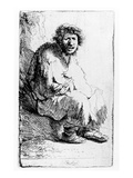 Beggar Seated on a Bank, 1630 (Etching) Giclee Print by  Rembrandt van Rijn