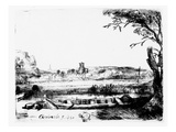 View of a Canal, 1650 (Etching) Giclee Print by  Rembrandt van Rijn