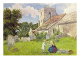Children in a Church Yard Giclee Print by Charles Rossiter