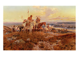The Wagons Premium Giclée-tryk af Charles Marion Russell