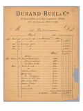 Sales Statement of Durand-Ruel Regarding Claude Monet, 1891 Giclee Print by  French