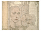 The Two Sisters, 1908 (Pencil and Chalk on Paper) Giclee Print by Frederick Cayley Robinson