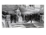 Unveiling the Statue of the Late Charles Darwin in the Natural History Museum, South Kensington Giclee Print by  English