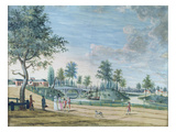 Railway Bridge, Parc Du Raincy (The Duke and Duchess of Chartres on their Way to the Orangerie) Giclee Print by  Carmontelle