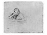 Young Girl Reading, 1889 (Black Lead on Paper) Giclee Print by Berthe Morisot