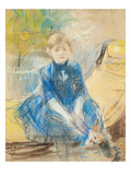 Little Girl with a Blue Jersey, 1886 (Pastel on Canvas) Giclee Print by Berthe Morisot