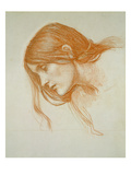 Study of a Girl's Head (Red Chalk on Paper) Reproduction procédé giclée par John William Waterhouse