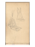 Boats of Trouville (Pencil on Paper) Giclee Print by Claude Monet