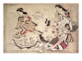 Courtesan and Lover, Pub. Mid-1860's, (Oban Size, Hand-Coloured Album Print) Giclee Print by Sigimura Jihei