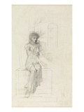 Study of a Seated Woman (Pencil on Paper) Giclee Print by John Melhuish Strudwick