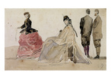 Crinolines on the Beach (Pencil and W/C on Paper) Giclee Print by Eugène Boudin