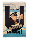 "German World War 1 Poster, ""U Boote Heraus"" (U Boats Away) (Colour Litho) Giclee Print by Hans Rudi Erdt"