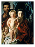 The Holy Family with St. John the Baptist, C.1620-25 (Oil on Panel) Giclee Print by Jacob Jordaens
