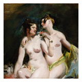 Two Female Nudes (Oil on Paper on Canvas) Giclee Print by William Etty
