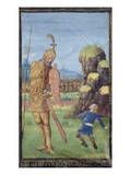 David and Goliath, from a Book of Hours, C.1470 (Vellum) Giclee Print by Jean Colombe