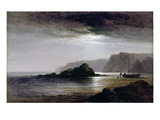 Coastal Landscape by Moonlight (Oil on Panel) Giclee Print by Arthur Gilbert