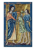 God Clothing Adam and Eve, from a Book of Bible Pictures, C.1250 (Vellum) Giclee Print by William de Brailes