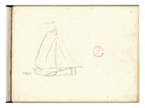 Dutch Boat (Pencil on Paper) Giclee Print by Claude Monet