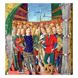 Historiated Initial 'N' Depicting St. Maurice and the Theban Legion, Lombardy School, C.1499-1511 Giclee Print by Alessandro Pampurino