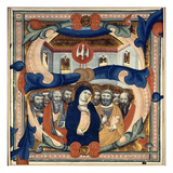 Historiated Initial 's' Depicting the Descent of the Holy Spirit, Mid 14th Century (Vellum) Giclee Print by Niccolo di ser Sozzo Tegliacci
