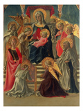 Madonna and Child Enthroned with Angels and Saints (Tempera on Panel) (See also 197200) Gicle-tryk af Fra Filippo Lippi