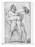 Hercules Strangling Antaeus (Graphite Pencil on Paper) Giclee Print by Louis Charles Auguste Couder