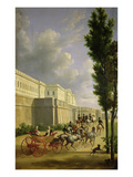 Napoleon I (1769-1821) and Marie-Louise (1791-1847) Leaving for the Hunt in Compiegne, 1811 Giclee Print by Jean Bidauld
