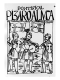 Francisco Pizarro and Diego De Almagro Reconciled at Castille (Woodcut) Giclee Print by Felipe Huaman Poma De Ayala