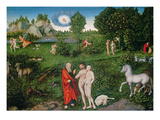 Adam and Eve in the Garden of Eden, 1530 (Oil on Panel) Giclee Print by Lucas Cranach the Elder