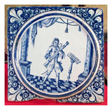 Tile Depicting a Bassoonist, 1706 (Faience) Giclee Print by  French