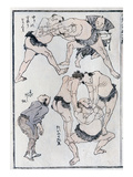 Studies of Gestures and Postures of Wrestlers, from a Manga (Colour Woodblock Print) Giclee Print by Katsushika Hokusai