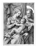 The Holy Family, Engraved by Marcantonio Raimondi, C.1515 (Engraving) Reproduction procédé giclée par  Raphael
