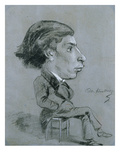 Portrait-Charge, C. 1858 (Black and White Chalk) Giclee Print by Charles Marie Lhuillier