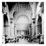 Pennsylvania Station, New York City, Main Waiting Room- Looking North, C.1910 (B/W Photo) Giclee Print by  American Photographer