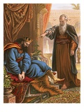 David and the Prophet Nathan Premium Giclee Print by  English