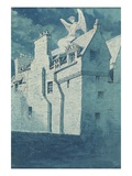 Angel on the Roof (Pen and Blue Ink with W/C on Paper) Giclee Print by Charles Altamont Doyle
