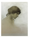 Head of a Girl (Pencil and Chalk on Paper) Giclee Print by Franz Dvorak