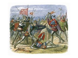 King Henry V Attacked by the Duke of Alencon at the Battle of Agincourt Stretched Canvas Print by James E. Doyle