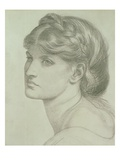 Portrait of Alexa Wilding, a Study for 'The Bower Meadow', 1871 (Chalk) Giclee Print by Dante Gabriel Rossetti