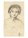An English Beauty in the Manner of John Leech, C.1853 (Pencil on Paper) Giclee Print by John Everett Millais