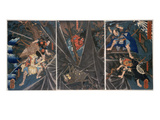 The Earth Spider Slain by the Hero Raiko's Retainers (944-1021) Giclée-trykk av Kuniyoshi Utagawa