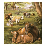 Milking Cows Giclee Print by  English