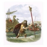 Julius Caesar's Invasion Attempt in 55 Bc Giclee Print by James E. Doyle