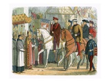 King Charles Vi of France and Henry V Welcomed by the Clergy Stretched Canvas Print by James E. Doyle