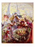 Fairies with Birds (W/C) Premium Giclee Print by John Anster Fitzgerald