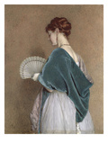 Woman with a Fan, 1871 (Pencil and W/C on Paper) Giclee Print by John Dawson Watson