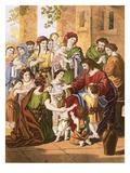 Christ Blessing Little Children Premium Giclee Print by  English